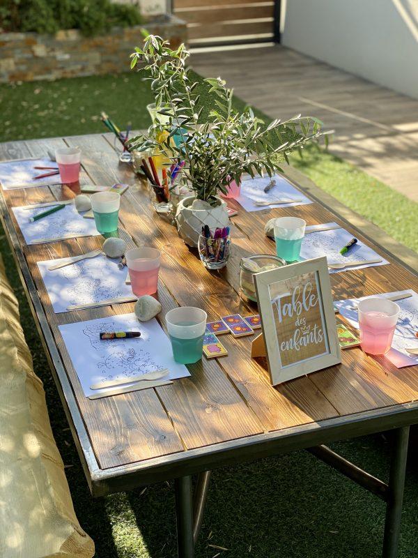 table bois repas enfant traiteur kid location décoration