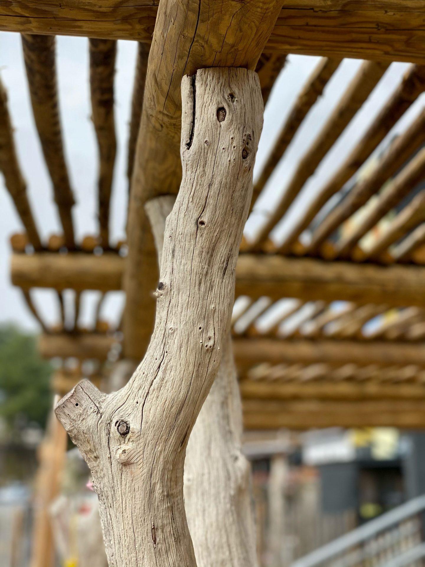 pergola bois flotté acacia eucalyptus jardin extérieur maison artisanal sud de france